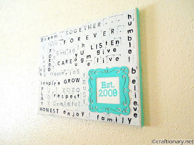 family stamped wall art subway art