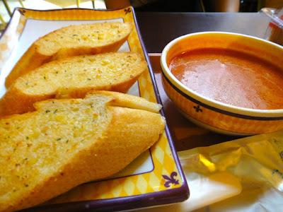 Tomato soup served with garlic bread at Hong Kong Disneyland