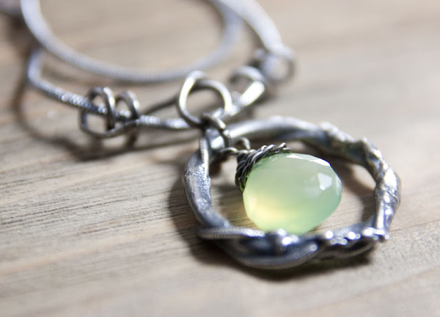 Sterling silver pendant with fused ring and Chalcedony briolette