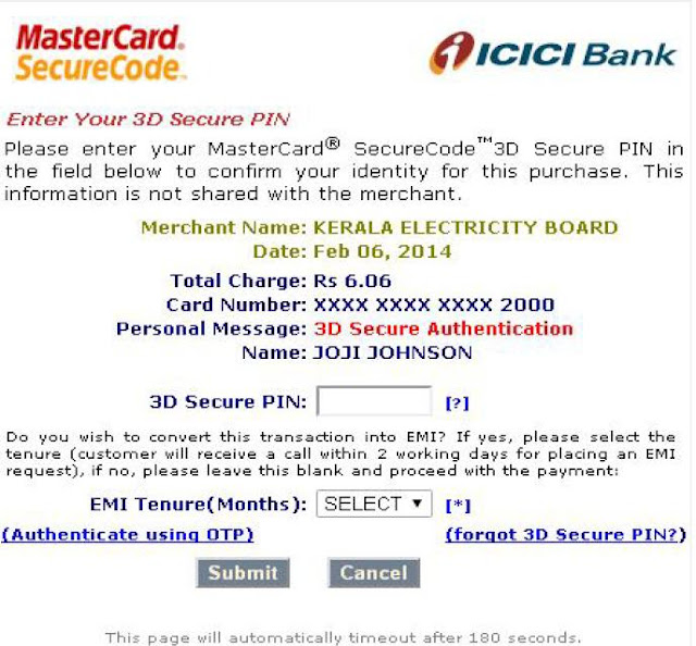 KSEB ICICI Credit Card Payment Succesful