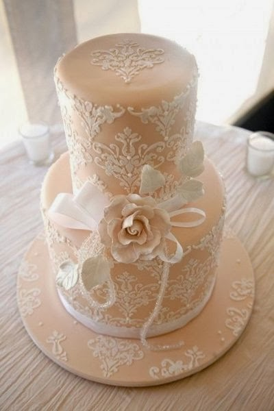 Peach And White Lace Wedding Cake