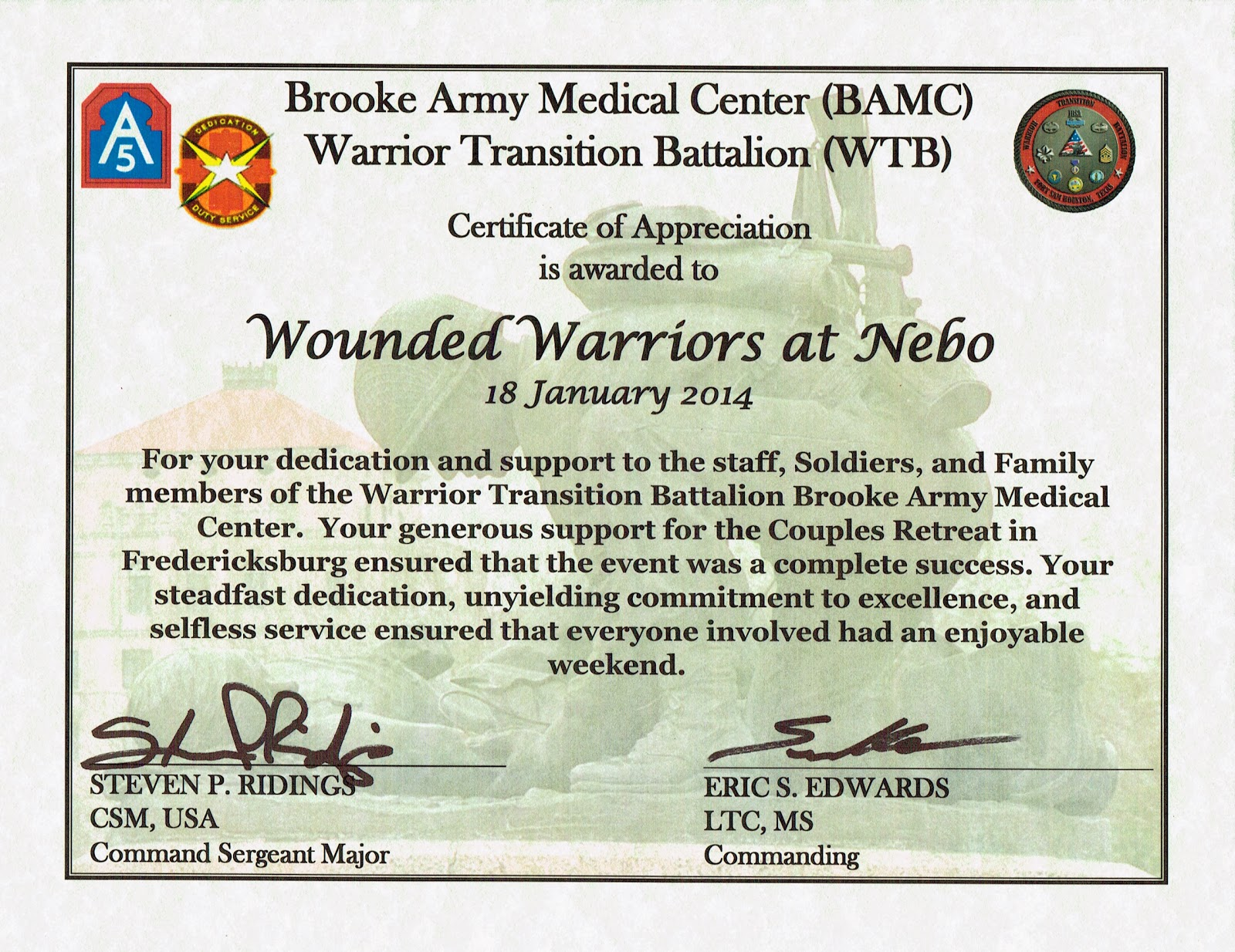 Wounded warriors at nebo certificate of appreciation certificate of appreciation yelopaper Choice Image