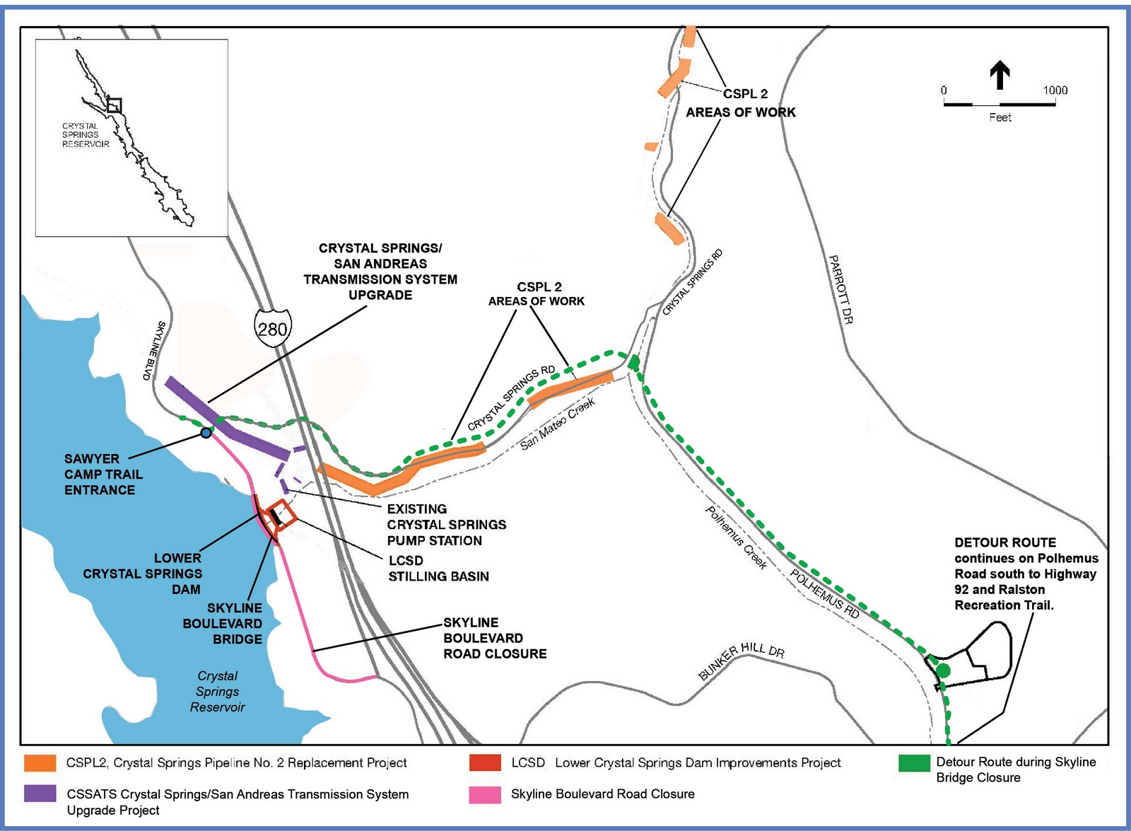 map of work near sawyer camp trail in 2011 and 2012 click to enlarge