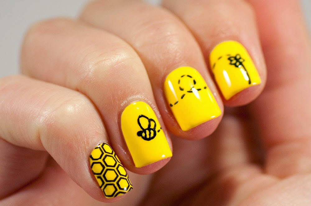 31 day challenge 2014 day 3 yellow nails may contain traces of bee design that ive seen in a few different places happy go lucky just required it the pinkie is stamped and the rest is painted with acrylic paint prinsesfo Choice Image
