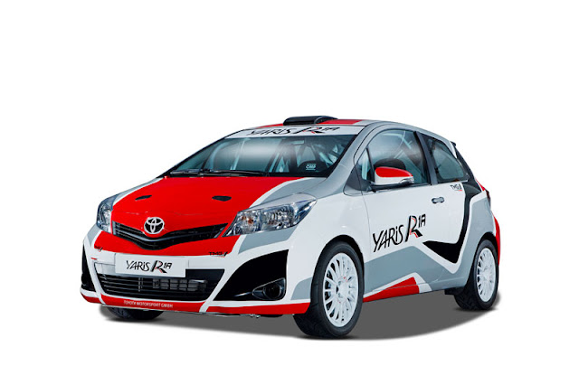 Toyota Yaris R1A rally car on white background