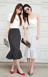 Polka Dot Fishtail Midi Skirt
