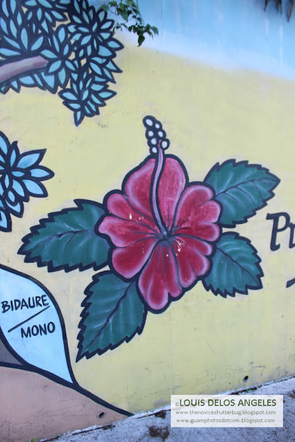 The gumamela in the mural at Hilton Guam