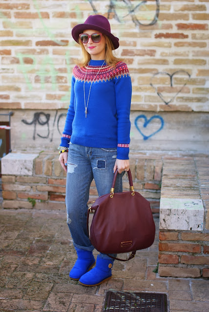UGG mini bailey button blue sapphire, fair isle jumper, Ecua-Andino hat, Fashion and Cookies, fashion blogger