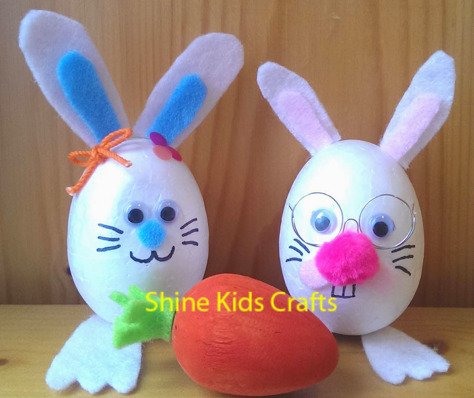 shine kids crafts 11 special materials to make cute 3 d easter bunny