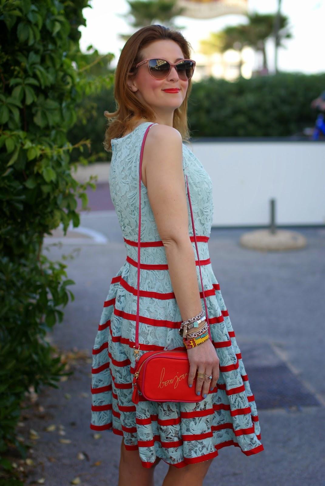 mint chicwish lace dress, Stella McCartney cat eye sunglasses, Zara bonjour bag, Fashion and cookies, fashion blogger