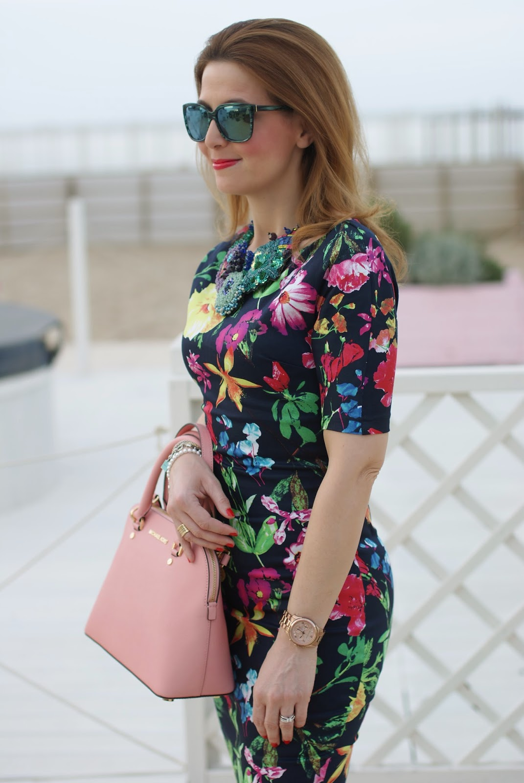 Ax Paris floral midi dress, Michael Kors Cindy pink bag, HypeGlass sunglasses on Fashion and Cookies fashion blog, fashion blogger style