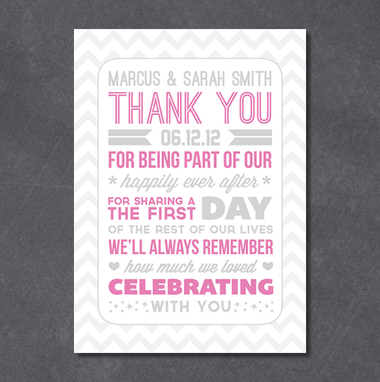 Wedding Gift List Note : Typography Style Wedding Thank You Notes & a Freebie poppytalk ...