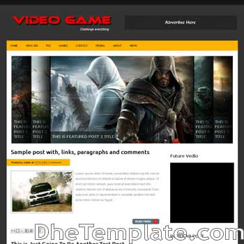 Video Game blogger template. video blogspot template