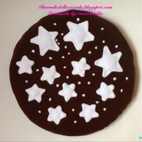 Cuscino, goloso, biscotto, Pan di Stelle, pile, handmade.