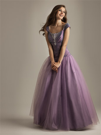 Purple Prom Dress on Purple Ball Gown Prom Dresses With Cap Sleeves