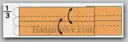 Bước 6: Tạo nếp gấp hai cạnh giấy bằng cách gấp hai cạnh vào trong sau đó lại mở ra.