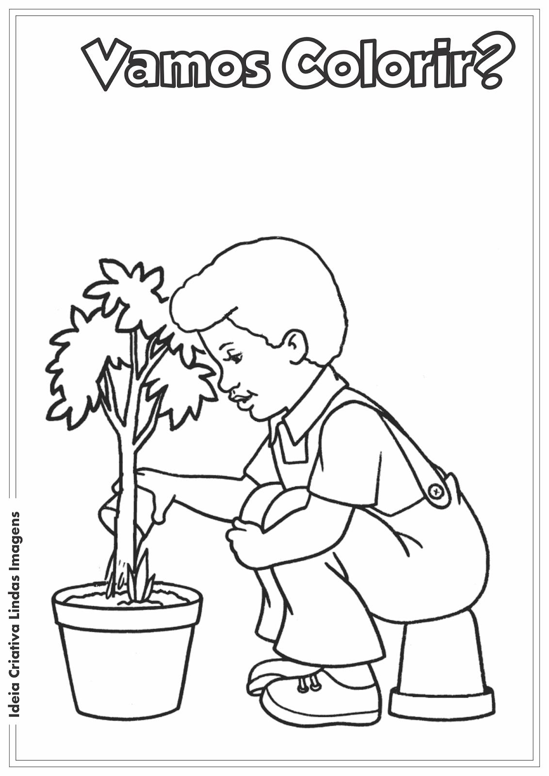 Dia da Árvore - Meio Ambiente desenho para colorir