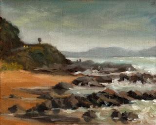 Oil painting of waves breaking on rocks on a beach, with gentle cliffs beside.