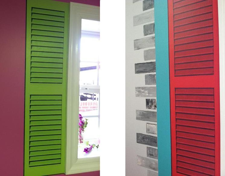 faux shutters mural