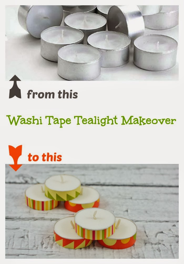 Washi Tape decorated Tealight #candles perfect for #Spring! #crafts #DIY