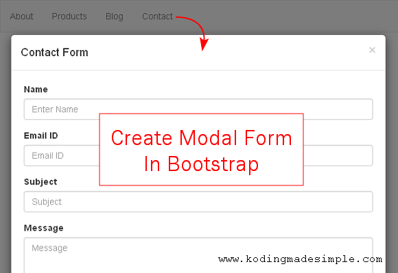 Twitter Bootstrap Modal Form Example Creating Contact Form