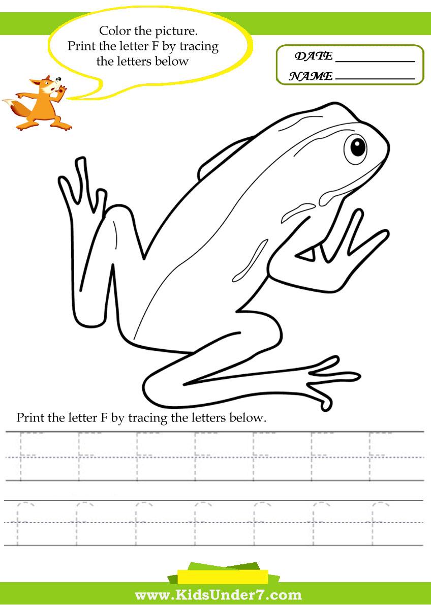 math worksheet : kids under 7 alphabet worksheets trace and print letter f : Letter F Worksheets For Kindergarten