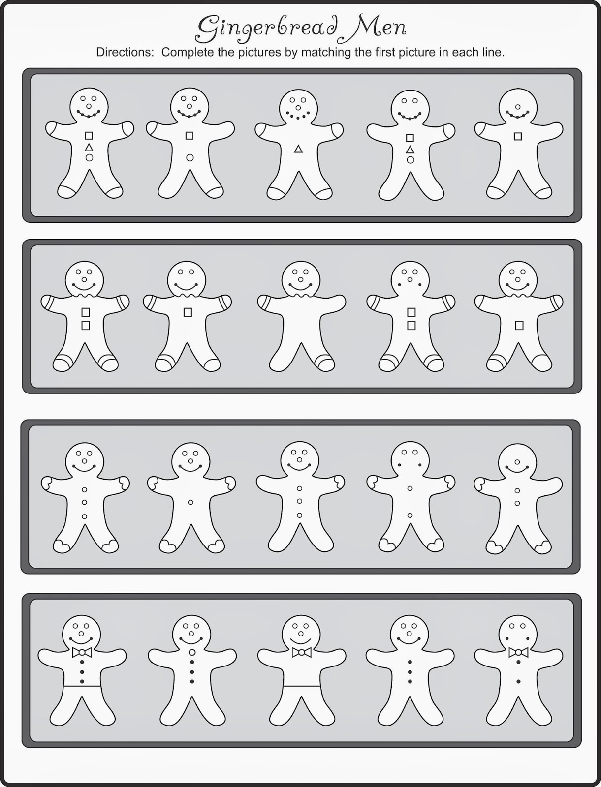 Free Gingerbread Men Finish the Picture Your Therapy Source