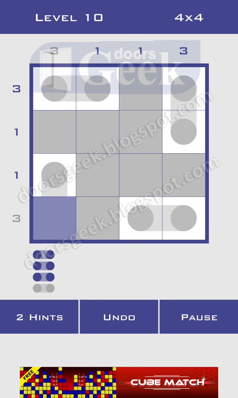 Logic dots 4x4 level 10 solution doors geek for Solution wordbrain cuisine