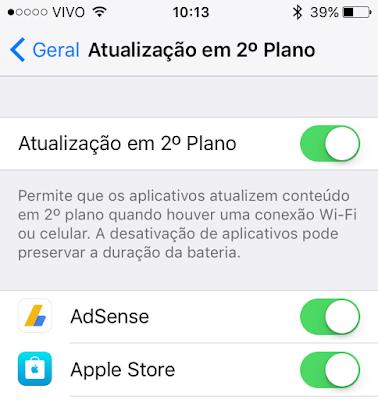 Atualização em 2º Plano do iOS
