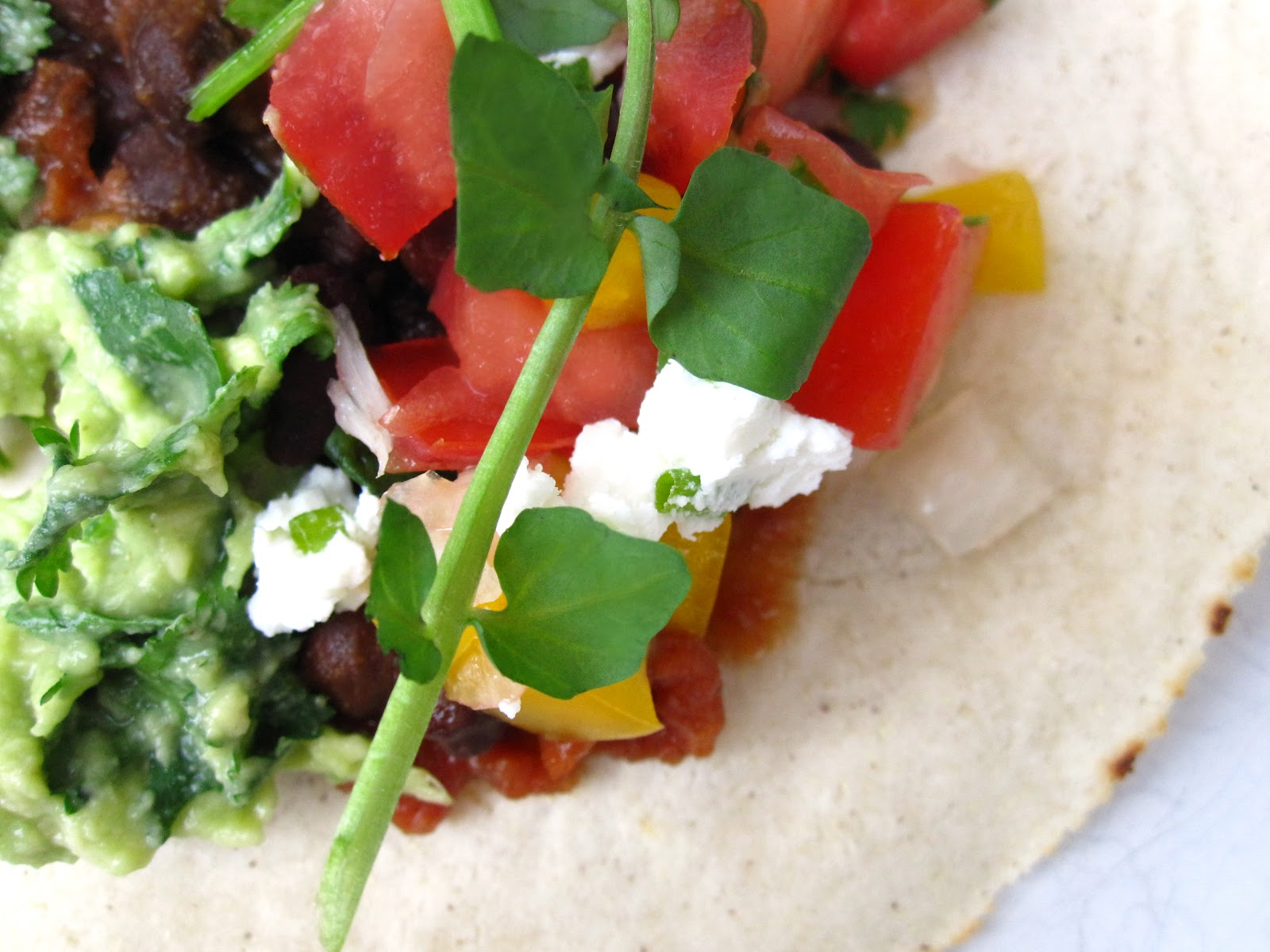 ... : Black chickpea tacos with fresh salsa, guacamole and watercress