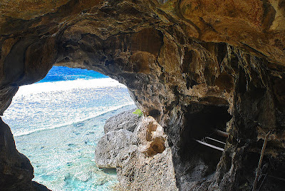 Canoe in a cave, Niue