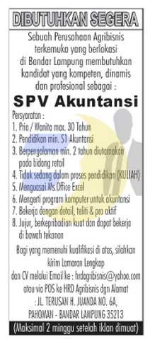 Lowongan Kerja SPV Akutansi Lampung, Karir Lampung minggu 15 februari 2015