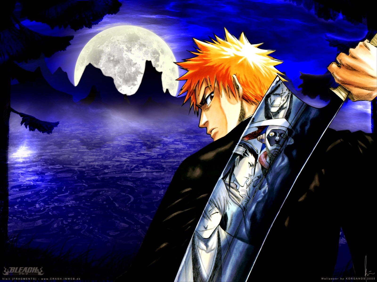 great wallpapers ichigo with big moon on the backgroud