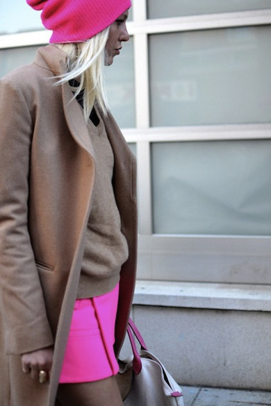 neon pink and camel
