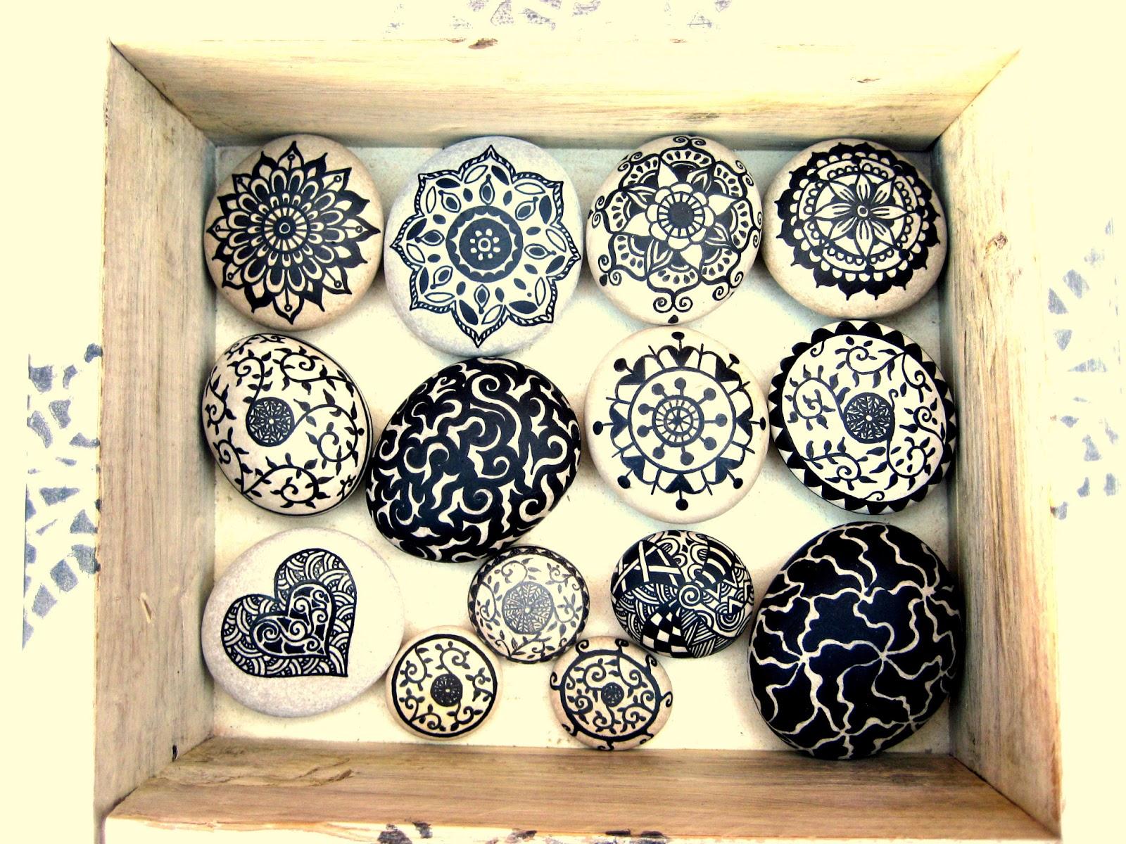Almacen de decoraci n piedras pintadas for Como pintar piedras