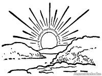 Mewarnai Pemandangan Matahari Terbit Dipantai