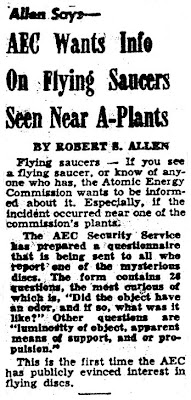 AEC Wants Info On Flying Saucers Seen Near A-Plants - The OakRidger 10-12-1950