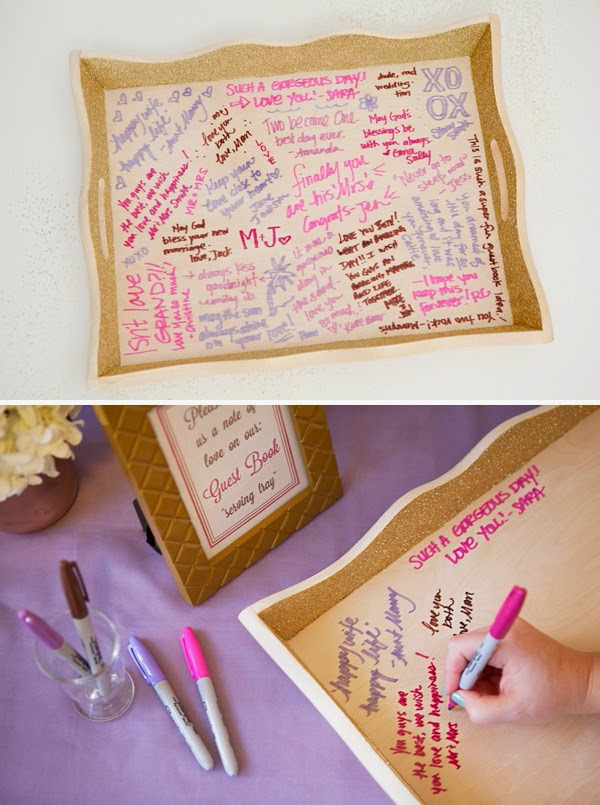 http://somethingturquoise.com/2014/01/10/diy-wedding-guest-book-serving-tray/