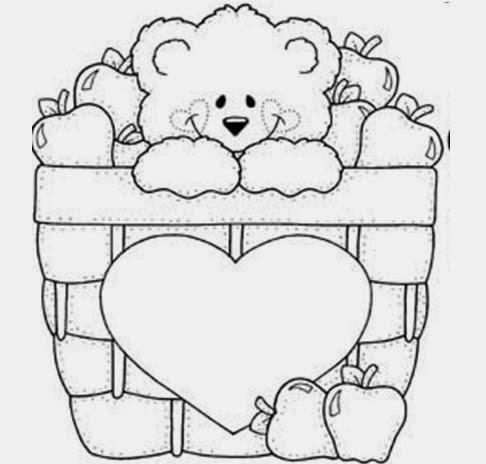 Desenhos de Ursinhos - dentro de uma cesta - Desenhos para colorir