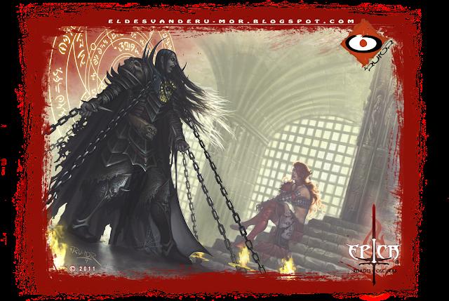 Ilustración hecha por ªRU-MOR que representa una escena del modo historia del juego de cartas de temática fantastía ÉPICA. Edades Oscuras.