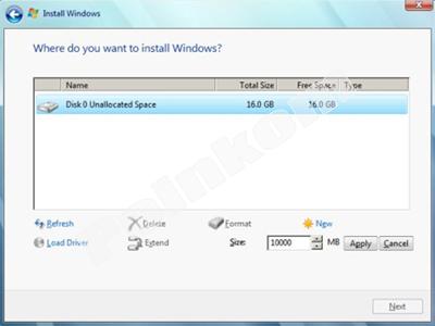 Menu Partisi Windows 7