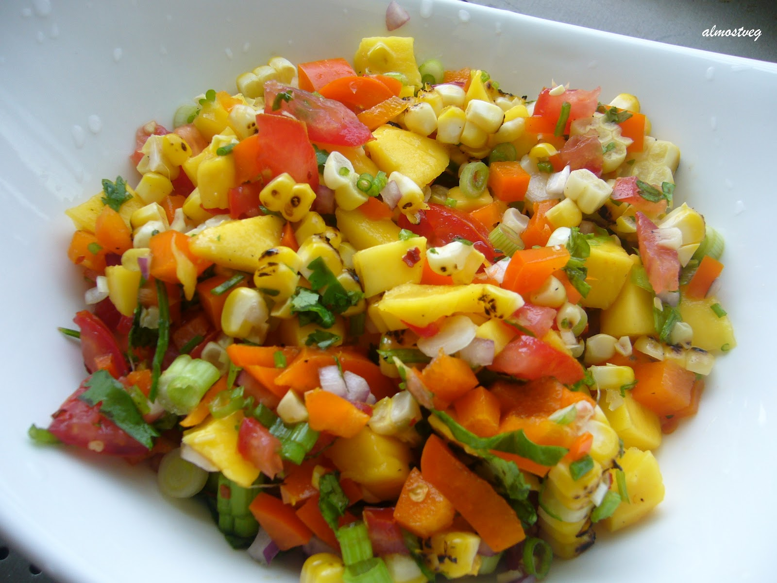 almostveg: Roasted corn and mango salad