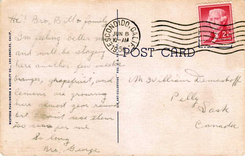 George Demoskoff Postcard to Demoskoff Family back
