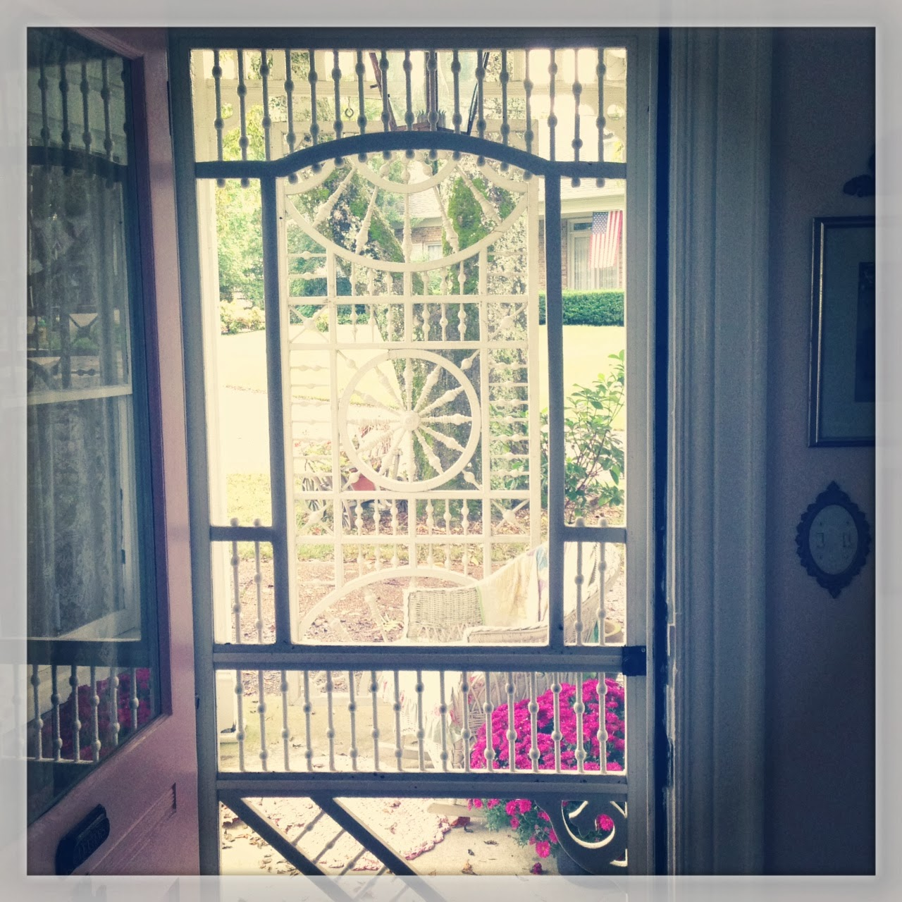 view through the victorian screen door