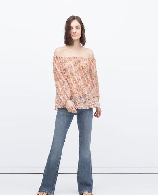 Top flores rosa sem ombros da Zara - 17,99€