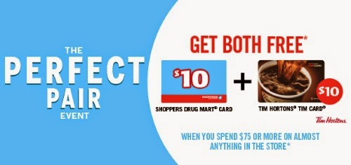 Shoppers Drug Mart Perfect Pair Event Free $10 Shoppers & $10 Tim Hortons Gift Card