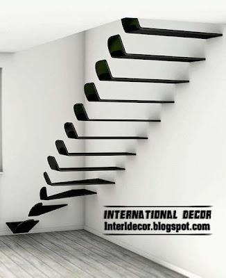modern interior stairs , modern flying staircase style