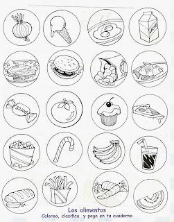 Alimentos saludables y alimentos chatarra para colorear
