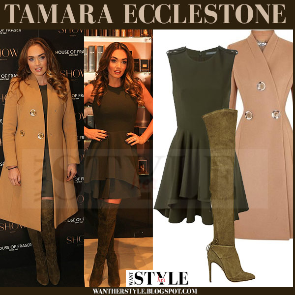 tamara ecclestone in camel coat and green suede boots at