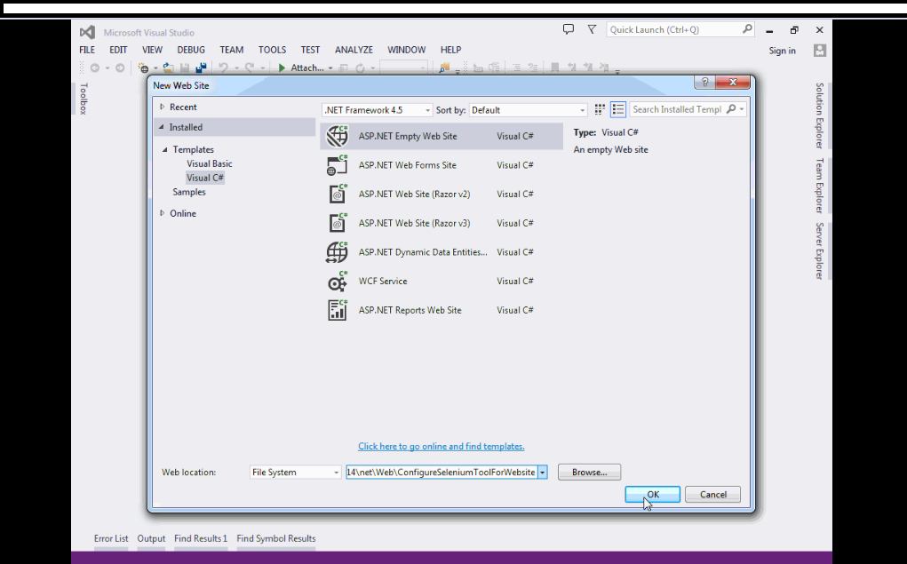 Selenium : Configure selenium tool for asp.net C# website or project in Visual Studio